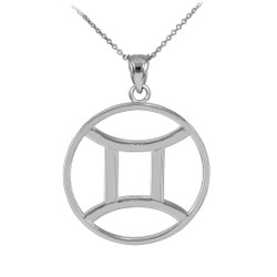 White Gold Gemini Zodiac Necklace