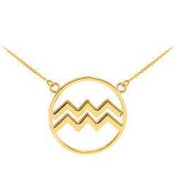 14K Polished Gold Aquarius Zodiac Sign Necklace