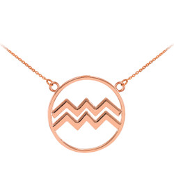 14K Rose Gold Aquarius Zodiac Sign Necklace
