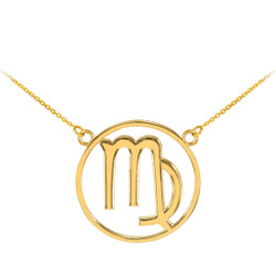 14K Polished Gold Virgo Zodiac Sign Necklace