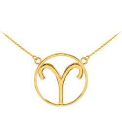 14K Polished Gold Aries Zodiac Sign Necklace