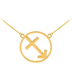 14K Polished Gold Sagittarius Zodiac Sign Necklace