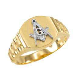Mens Gold Masonic Ring