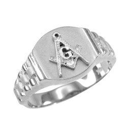 White Gold Masonic Ring