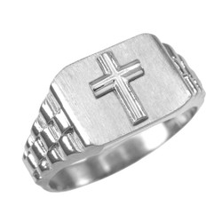 Mens White Gold Cross Ring