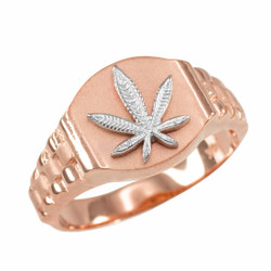 Rose Gold Marijuana Ring