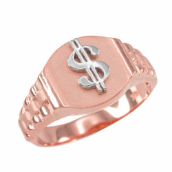 Rose Gold Dollar Sign Mens Hip-Hop Ring