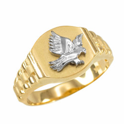 Gold American Eagle Mens Ring