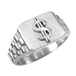 White Gold Dollar Sign Mens Ring
