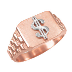 Rose Gold Dollar Sign Mens Ring