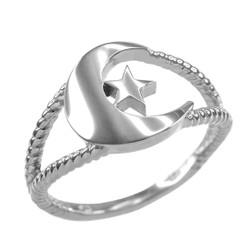 White Gold Crescent Moon Islamic Ring