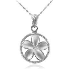 Silver Roped Circle Hawaiian Plumeria Flower Charm Pendant Necklace