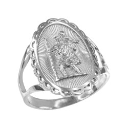 Silver Saint Christopher Oval Women's Ring