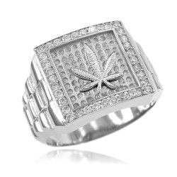 Sterling Silver Men's Marijuana CZ Iced Watchband Ring