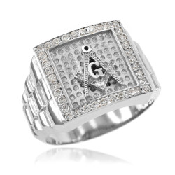 Silver Watchband Design Men's Masonic Iced CZ Ring