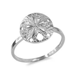 White Gold Sand Dollar Ring