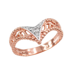 Rose gold chevron ring