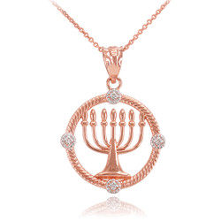 Rose Gold Menorah Diamond Necklace