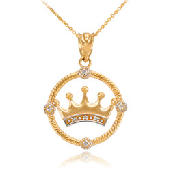 Gold Quinceanera Crown Diamond Pendant Necklace