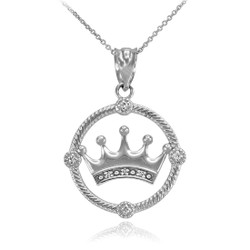 White Gold Quinceanera Crown Diamond Pendant Necklace
