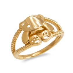 Gold Teddy Bear Ring