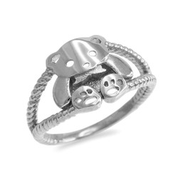 White Gold Teddy Bear Ring