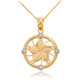 Gold Hawaiian Plumeria Flower Necklace