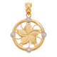 Gold Hawaiian Plumeria Flower Pendant