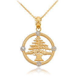 Gold Lebanon Cedar Tree Diamond Necklace