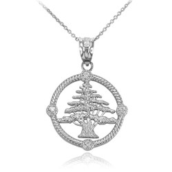 White Gold Cedar Tree Lebanon Diamond necklace
