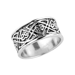 Sterling Silver Celtic Knot Comfort Fit Wedding Band