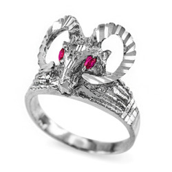 Sterling Silver Ram Head Red CZ Textured Ring