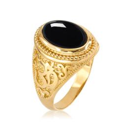 Gold Om Ring onyx