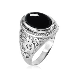 White gold Om onyx ring. Men's Onyx ring.