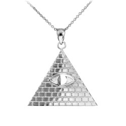 Sterling Silver Illuminati Pyramid All Seeing Eye Pendant Necklace