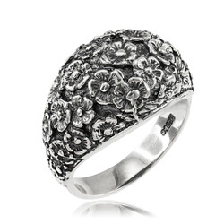 Sterling Silver Flower Bouquet Oxidized Ring