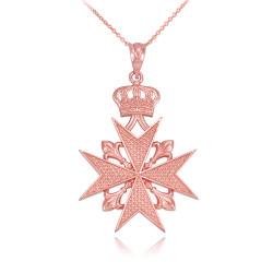Rose Gold Maltese Cross Pendant Necklace