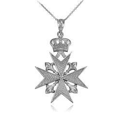 Gold fleur de lis maltese cross pendant necklace silver maltese cross necklace aloadofball Images