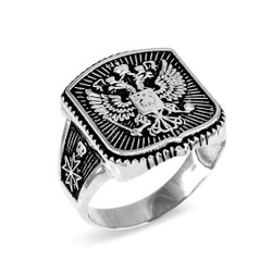 Dark White Gold Russian Imperial Crest Double-headed Eagle Mens Orthodox Ring