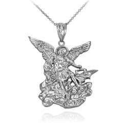 White Gold St. Michael Necklace