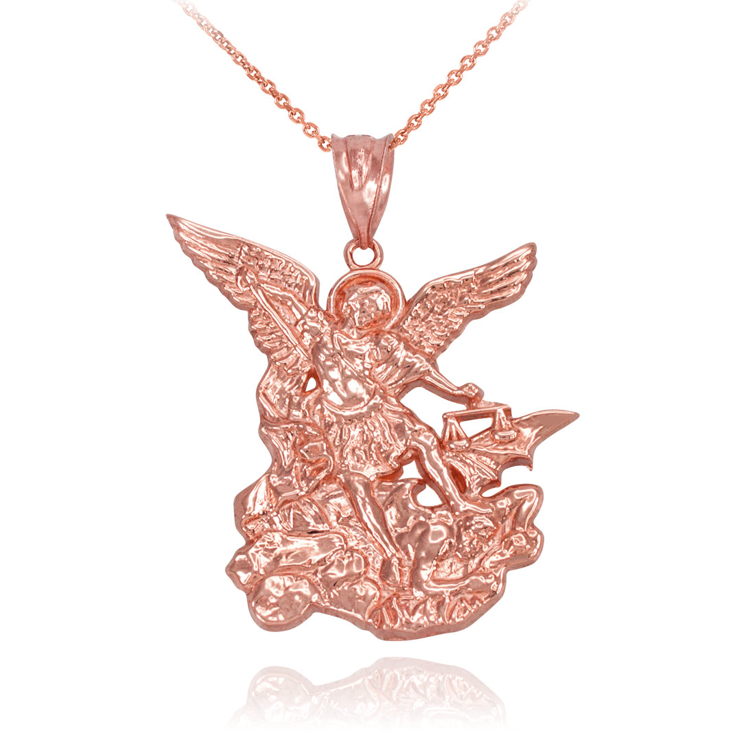 Rose gold st michael pendant necklace rose gold st michael necklace aloadofball Choice Image