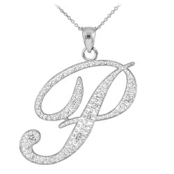 "Sterling Silver Letter Script ""P"" CZ Initial Necklace"