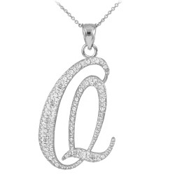 "Sterling Silver Letter Script ""Q"" CZ Initial Necklace"