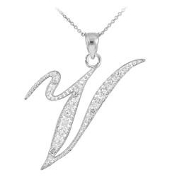 "Sterling Silver Letter Script ""V"" CZ Initial Necklace"