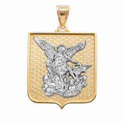 Two-tone Yellow and White Gold St. Michael Badge Pendant