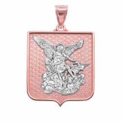 Two-tone Rose and White Gold St. Michael Badge Pendant