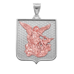 Two-tone White and Rose Gold St. Michael Medal Pendant