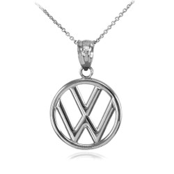 White Gold VW Volkswagen Emblem Charm Necklace