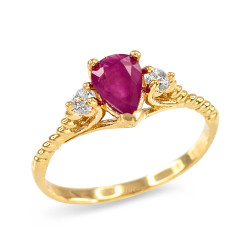 Stackable Gold Ruby Ring.
