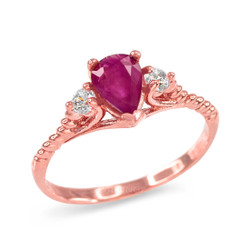 Ruby and White Topaz Stackable Rose Gold Rope Band Promise Ring